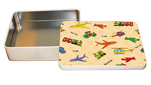 Tin Tractor Toy - Tractor Airplane Car Toys Pattern Decorative Metal Tin Trinket Box 3