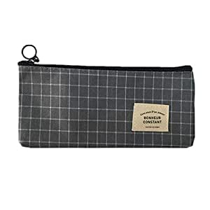 Small fresh striped zippered waterproof bag, pencil bag, cosmetics, cosmetics office supplies and travel accessories, black canvas