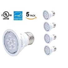 PAR16 LED Pot Light, 6W, Warm White 3000K, E26/E27 Base, Non-dimmable, 38 Beam Angle, 50W Equivalent, UL Listed, Energy Star, 5 Packs