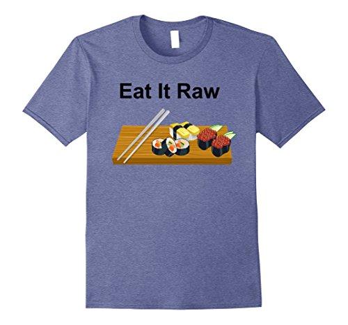 Mens I Love Sushi Rolls Eat It Raw Chopsticks Foodie T-shirt 3XL Heather Blue