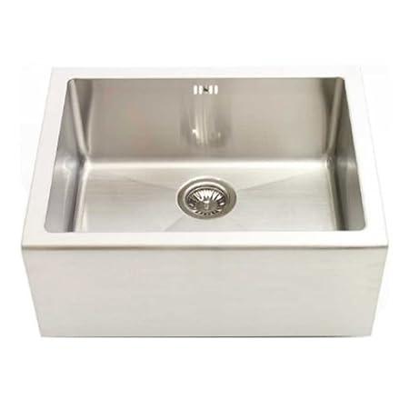 Belfast Single Bowl Sit On Sink in Brushed Steel: Amazon.co.uk ...