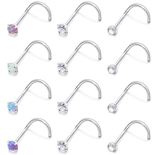 Cisyozi 12PCS 22G Stainless Steel Nose Rings Stud Set 3mm Diamond CZ Opal Screw Nostril Piercing Jewelry for Women Men