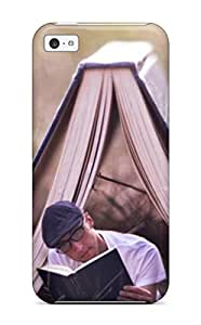 Tpu Case Cover For Iphone 5c Strong Protect Case - Boy Reading A Book Under A Tent Card Design