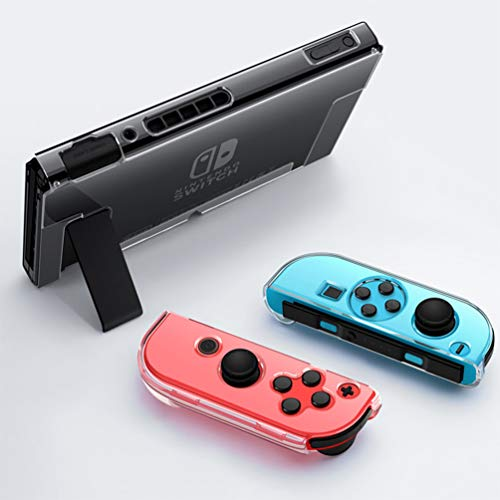 Dockable Clear Case for Nintendo Switch, VANJUNN 3 in 1 Protective Case Cover for Nintendo Switch and Joy-Con Controller with Clear Grip Cover Shock-Absorption and Anti-Scratch Design(Crystal Clear)