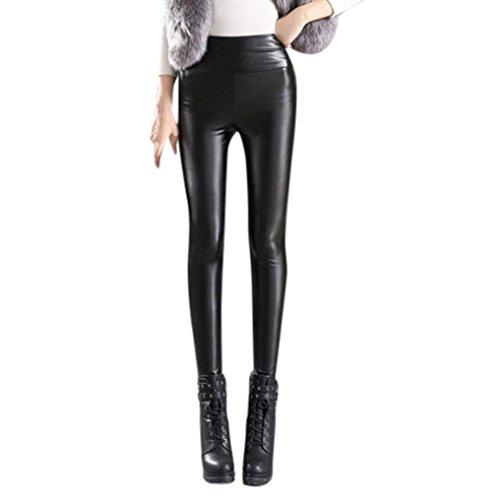 Leggings Tempo Collant Libero Caldo Nero Pelle High Donna Waist Chic Addensare Pantaloni Skinny Invernali Pantaloni Pantaloni Elastico Nero Matita Cute A apXnxwqBgf