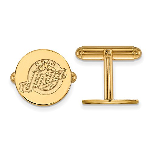 NBA Utah Jazz Cuff Links in 14K Yellow Gold by LogoArt