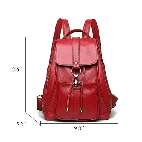 pour à Dos Fanshu Véritable Voyage Femmes Bandoulière Dames Rouge Mode en à Sac Noir Sacs Cuir EqYqp