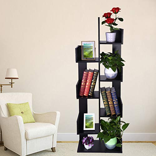 - m·kvfa 8-Shelf Tree Bookshelf Bookcase Book Rack Display Storage Organizer Shelves CDs Records Books Storage Decor Furniture for Living Room Home Office