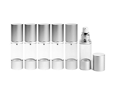 Perfume Studio Airless Pump Bottle 1 oz Set of 6 Cosmetic Treatment Airless Pump Bottles with Aluminum Metal Shell Top Bottom Free Perfume Studio Oil Sample Included
