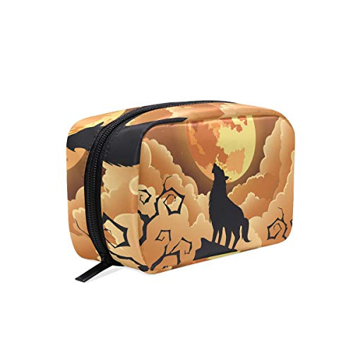 Makeup Bag Halloween Wolf Moon Travel Cosmetic Bags