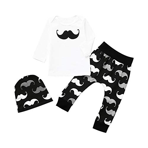 Baby Girls&Boys Long Sleeve Mustache Print + Pants+Hat Outfit Clothes (Age:18-24 Months) ()