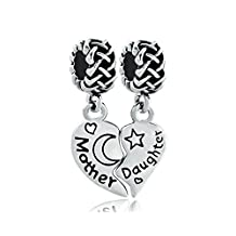 Sterling Silver Heart Mom Love Mother Daughter Star Moon Charm Beads Fit Pandora Jewelry Charms Bracelet
