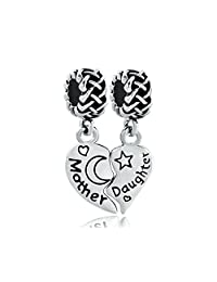 Mother Daughter Charms Jewelry I Love You To The Moon and Back Silver Plated Bead Fit Pandora Bracelet