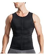 Ursexyly Men Compression Shirts Slimmer Undershirts Body Shaper Waist Trainer Shapewear Tank Top Workout Jacket with Zipper