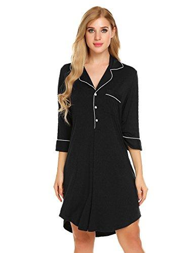 Bifast Vintage Pyjama Top 3 4 Sleeve Notched Collar Oversized Dressing ()