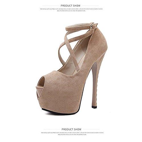 súper de individuales alta americana mujer de de de apricot europea raso Boca pescado con moda zapatos los y UzB6qwgpv