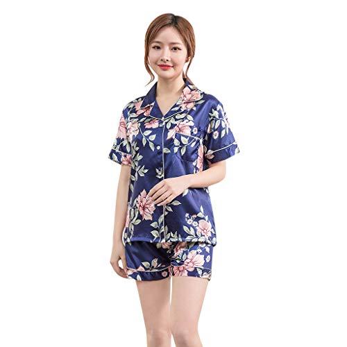 Women's Sleepwear Short Sleeve Pajamas V-Neck Top and Shorts Pajama Set