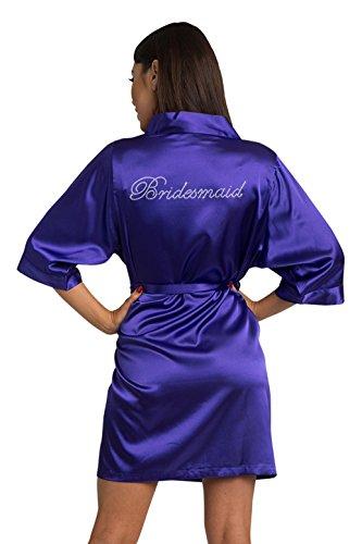 Regal Robe - Zynotti Women's Rhinestone Bridesmaid Bridal Party Getting Ready Wedding Kimono Regal Purple Satin Robe - S/M