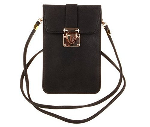 KISS GOLD (TM) Luxury Matte PU Leather Mini Crossbody Single Shoulder Bag Cellphone Pouch (Model A-Black)