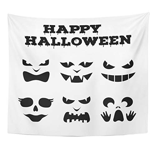 Emvency Wall Tapestry Collection of Halloween Pumpkins Carved Faces Silhouettes Black and White Images with Variety Eyes Mouths and Noses Decor Wall Hanging Picnic Bedsheet Blanket 60x50 Inches]()