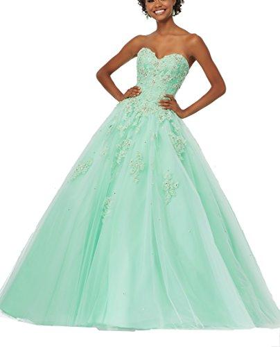 Quinceanera Applique Length Ball Dress Eldecey Floor Mint Lace Tulle Women's Gown EqUqZ8wIx