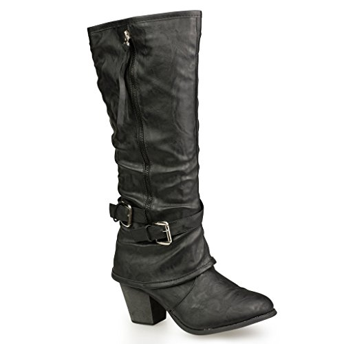 twisted-womens-faux-leather-zip-up-mid-heel-boots-with-buckle-straps-black-size-9