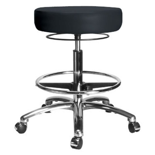 Perch Stella Rolling Medical Stool in Chrome With Footring E