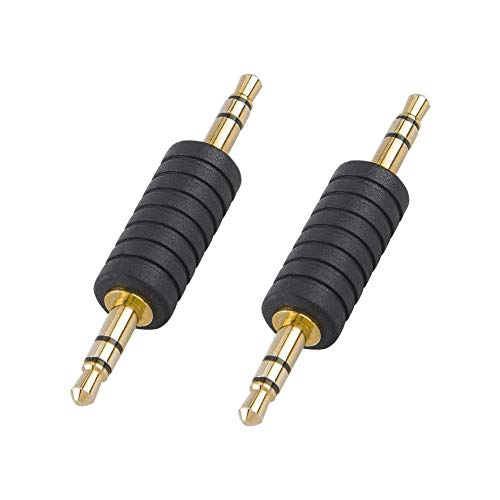 CableCreation 2 Pack 3.5mm 1/8 Stereo Jack to 3.5mm Audio Male to Male Adapter Connectors Gold Plated for Bluetooth Receive