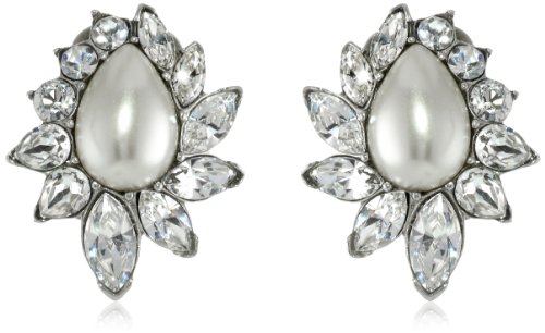 Ben-Amun Jewelry Glass Pearl and Swarovski Crystal Clip-On Earrings for Bridal Wedding Anniversary by Ben-Amun Jewelry