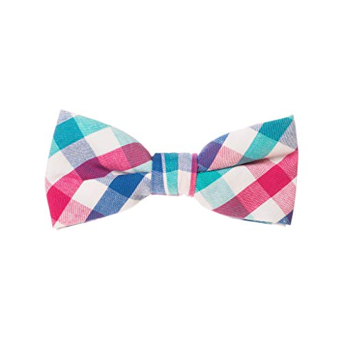 Born to Love - Boys Kids Pre Tied Adjustable Bow tie Easter Holiday Party Dress Up 4 Inches Navy and Red Plaid Cotton Bow Tie ()