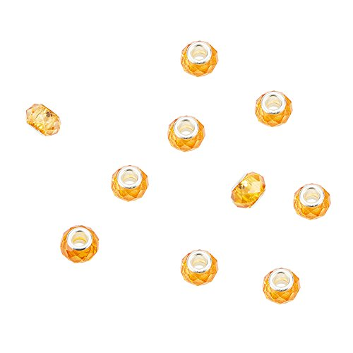 NBEADS 100Pcs Gold Color Crystal Glass Charms, Faceted Lampwork Beads Large Hole European Charms Beads fit Bracelet Jewelry -