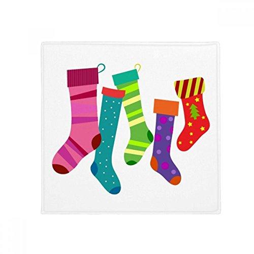 DIYthinker Merry Christmas Colorful Stockings Illustration Anti-Slip Floor Pet Mat Square Home Kitchen Door 80cm Gift
