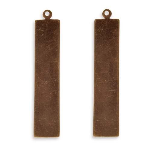 Vintaj Natural Brass Altered Blank Stamping Tag Pendants 41x8.5mm (2) 39075