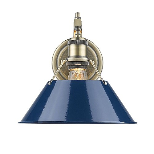 Aged Brass Wall Light (Golden Lighting 3306-1W AB-NVY Orwell - One Light Wall Sconce, Aged Brass Finish with Navy Blue Shade)