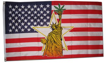 Flagline.com Statue of Liberty w/Marijuana - Novelty flags