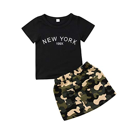 Fashion Toddler Baby Girls Camo Outfits Sets Black T-Shirt Button Skirt Dress Summer Clothes for 6-12 Months