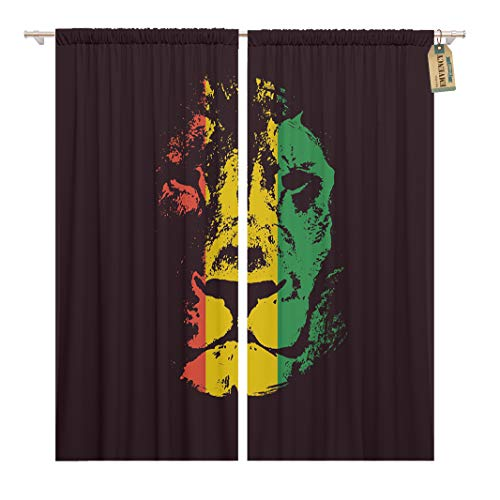 (Golee Window Curtain Green Reggae Rasta Red Lion Jamaica Rastafarian Flag Graphic Home Decor Rod Pocket Drapes 2 Panels Curtain 104 x 63 inches)