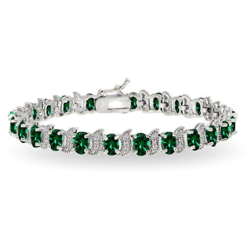 Emerald Set Jewelry Box - Sterling Silver Simulated Emerald 6x4mm Oval and S Tennis Bracelet with White Topaz Accents