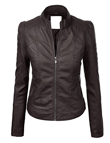 LL WJC746 Womens Vegan Leather Motorcycle Jacket XL COFFEE (Brown Female Leather Jacket)