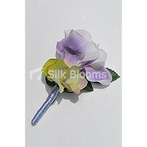 Beautiful Silk Artificial Purple Iris and Hydrangea Wedding Buttonhole 5