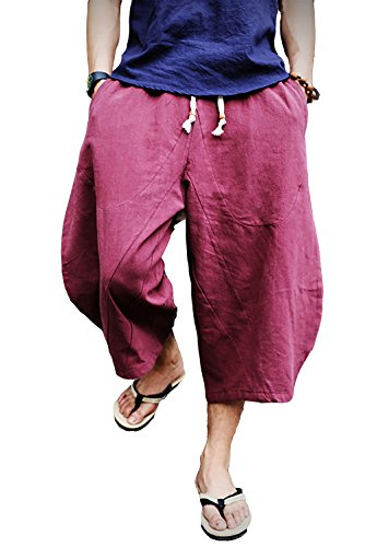 FASKUNOIE Men's Three Quarter Capri Pants Below Knee 3/4 Casual Cotton Shorts with Pockets Wine Red ()