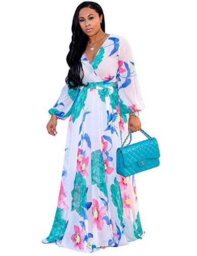 Dora's Womens Chiffon V-Neck Printed Floral Maxi Dress Long Sleeves Dresses High Waisted Belt Plus Size (White -