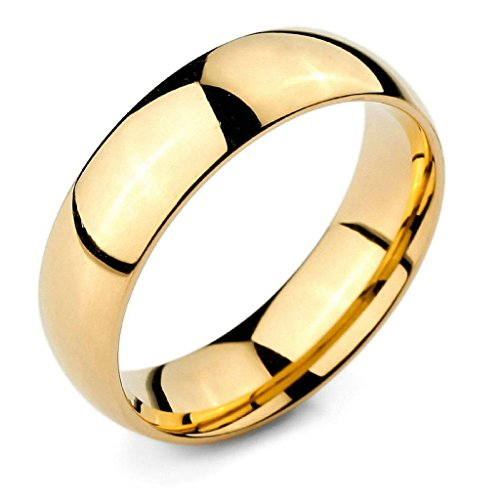 Aooaz Stainless Steel Rings For Women Men Simple Gold Bands Wedding Punk Rings Size 9 Free Engraving -