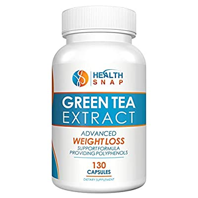 HealthSnap High-Potency Green Tea Antioxidant Extract with ECGC, Polyphenols and Naturally-Occurring Gentle Caffeine - Healthy Heart, Brain, Immune, Metabolism and Weight Support - 1000mg, 130 Count