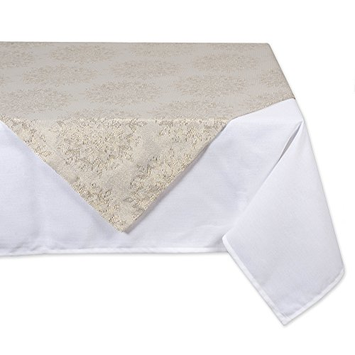 DII Metallic Table Topper, Perfect for Dinner Parties, Christmas & Holidays & Thanksgiving Winter Jaquard Tablecloth-40x40, Jacquard