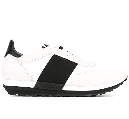 Moncler Sneakers Scarpe Uomo in Tessuto e Camoscio Modello Horace Bianco + Blu