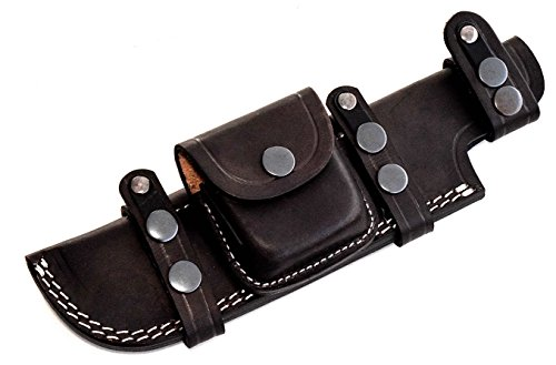CFK Cutlery Company USA Handmade LARGE LEFT HAND CROSS DRAW/RIGHT HAND REVERSE SCOUT Custom DARK-BROWN Leather Tactical Hunter Replacement Knife Sheath - Scout Sheath
