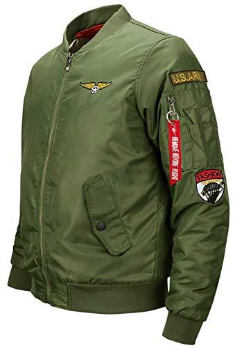 Bombardero Vuelo Chaqueta Ligero En Aérea 1 Chaqueta Deporte Otoño Acolchado para green para Chaqueta Clásica V con Y Casual Invierno Ropa Cuello De Hombre Fuerza FFwqxTv7