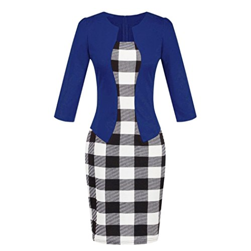 DongDong Hot Sale! Dress Colorblock Plaid Women Wear to Work Business Party Bodycon One-Piece Sash Dress