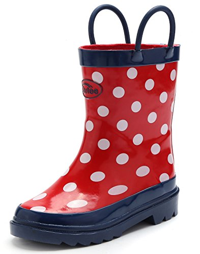 Lined Insoles (Outee Girls Kids Rubber Rain Boots Red Waterproof Shoes Polka Dots Cute Print with Easy-On Handles Classic Comfortable Removable Insoles Anti-Slippery Durable Sole with Grip (Size 1))